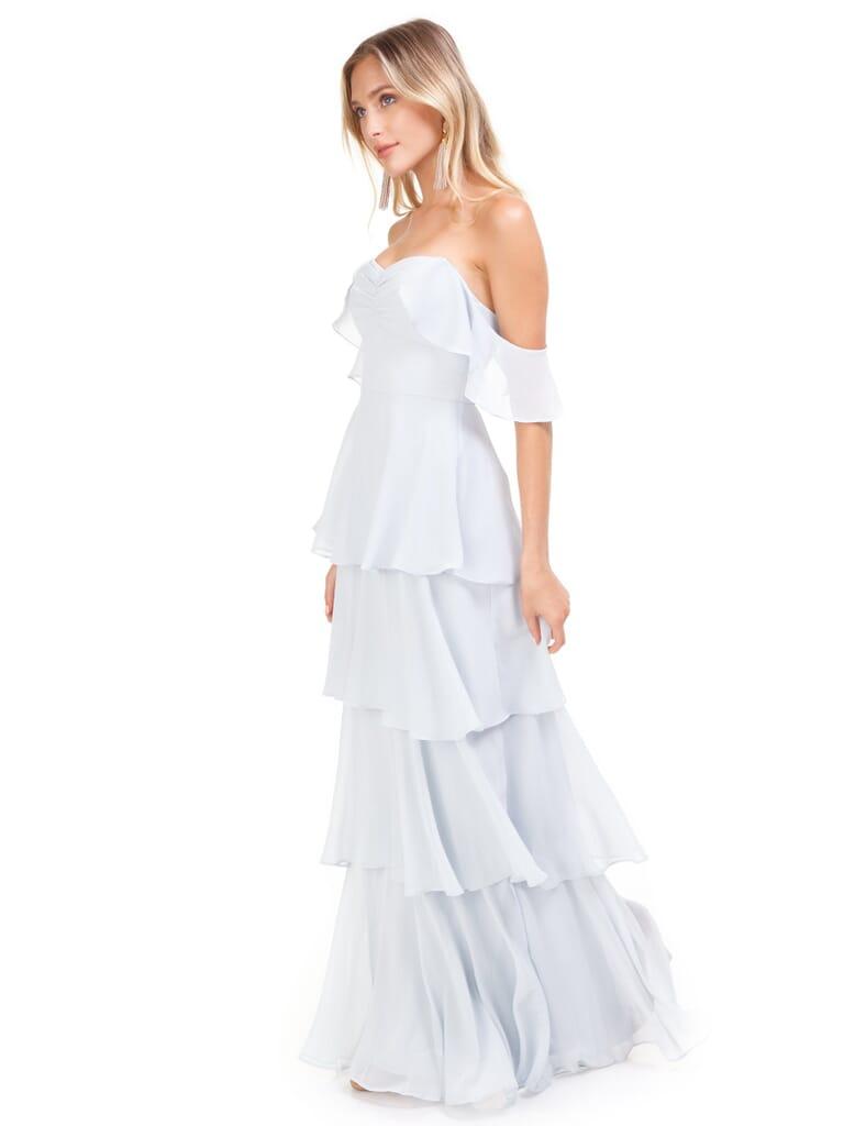 WAYF Abby Off Shoulder Tiered Maxi Dress in Ocean Mist