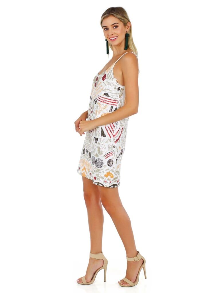 French Connection Adanya Shine Dress in White/Multicolor Sequin