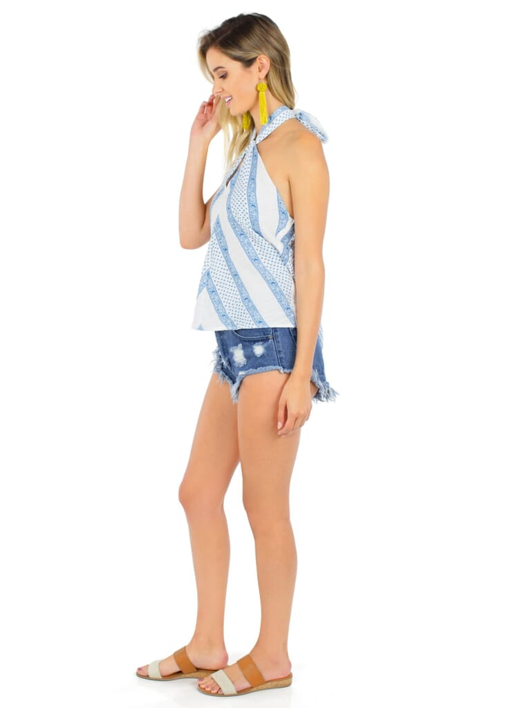 Line & Dot Aga Twisted Top in Sky