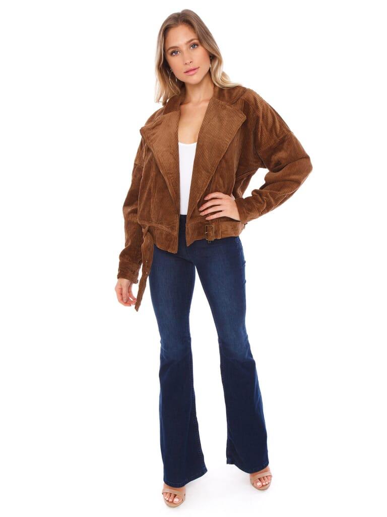 LOST + WANDER Alicia Moto Jacket in Mocha