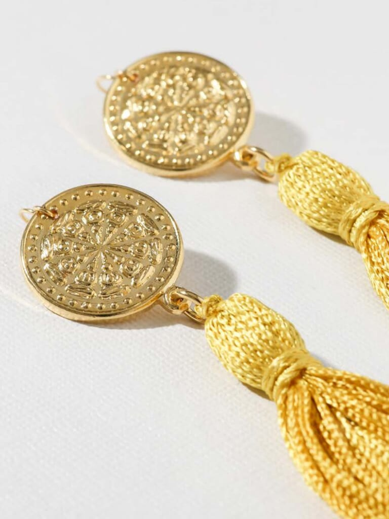 Vanessa Mooney Aliza Coin Tassel Earrings in Gold