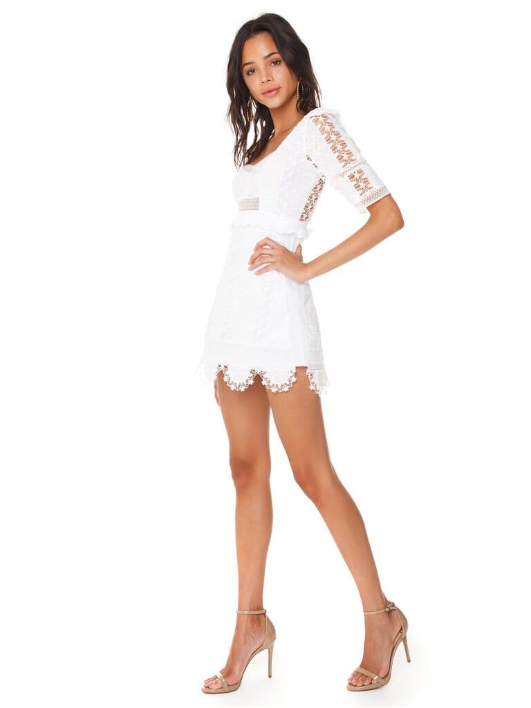 For Love & Lemons Amandine Mini Dress in White