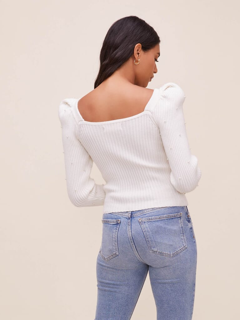 ASTR Ansel Embellished Sweater in Off White