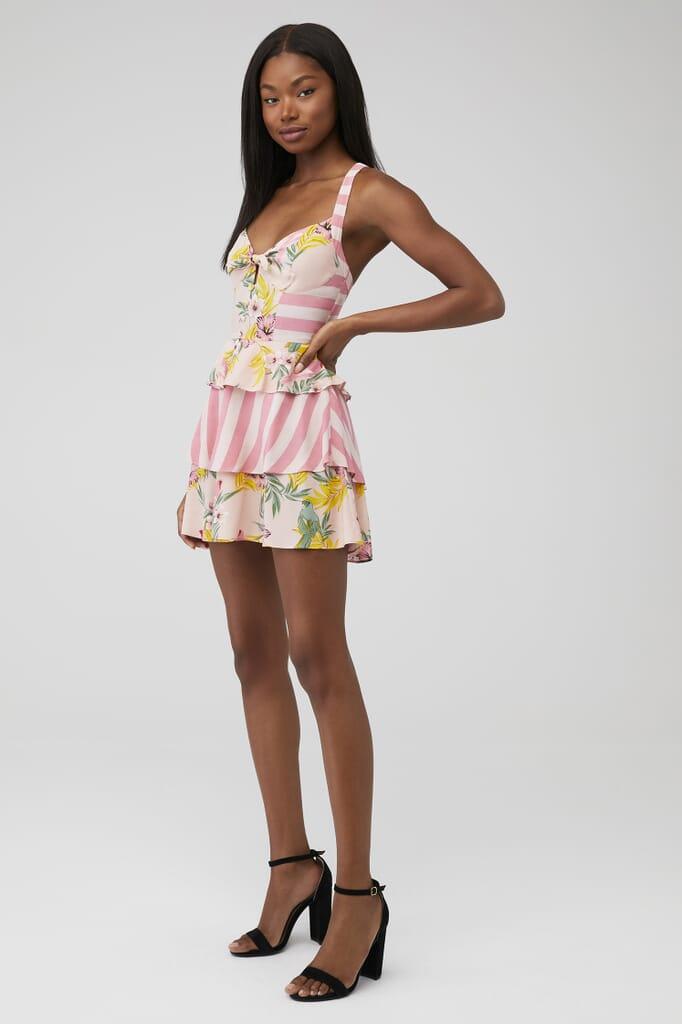 For Love & Lemons Antigua Mini Dress in Blush