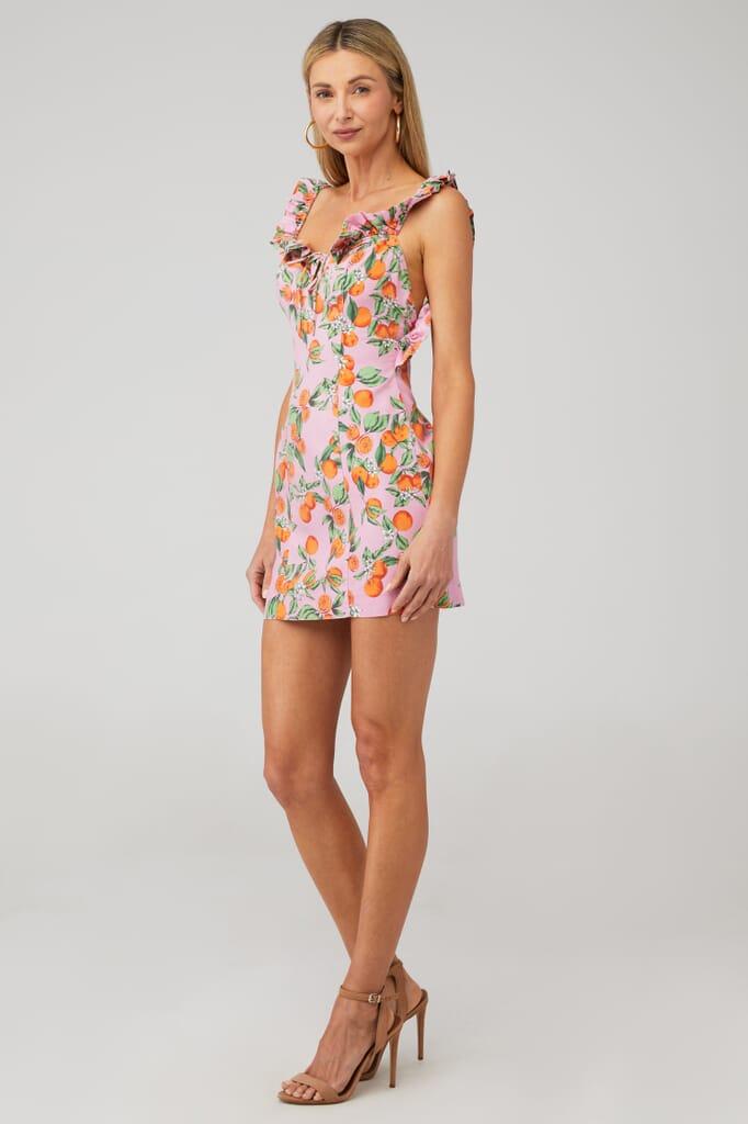 Finders Keepers Aranciata Mini Dress in Pink Clementine