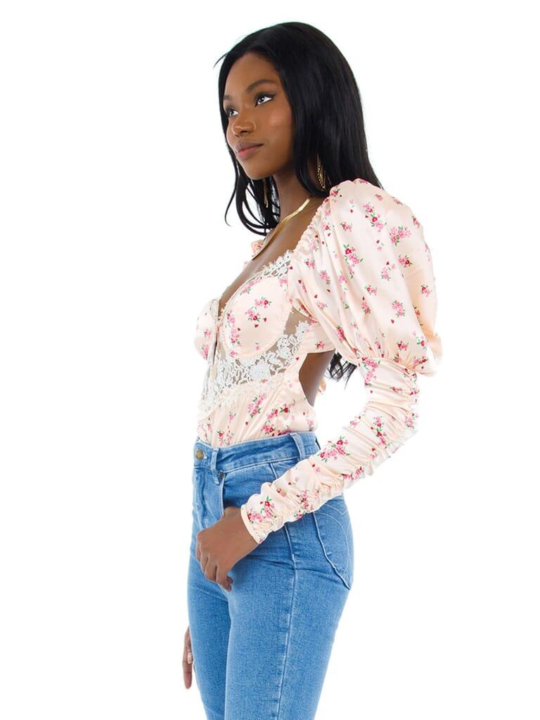 For Love & Lemons Aster Floral Bodysuit in Peach Floral