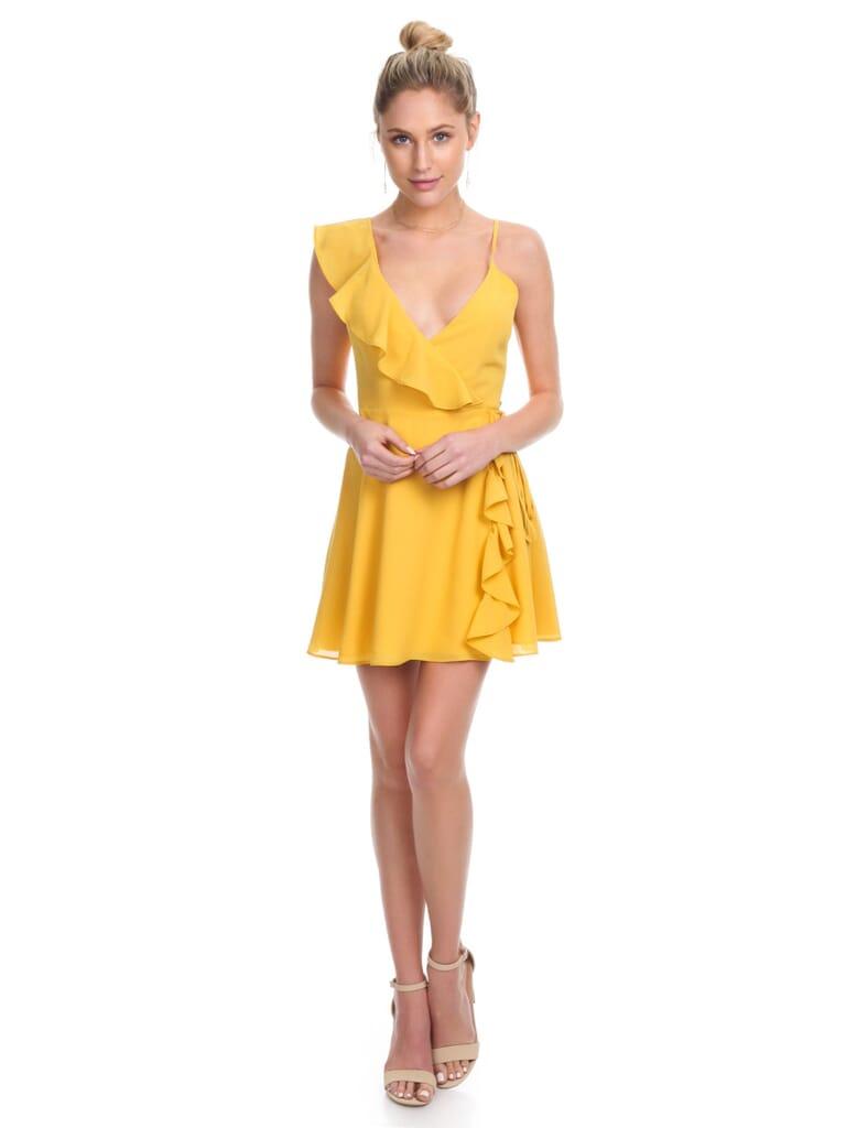 LPA Asymmetrical Ruffle Wrap Dress in Yellow