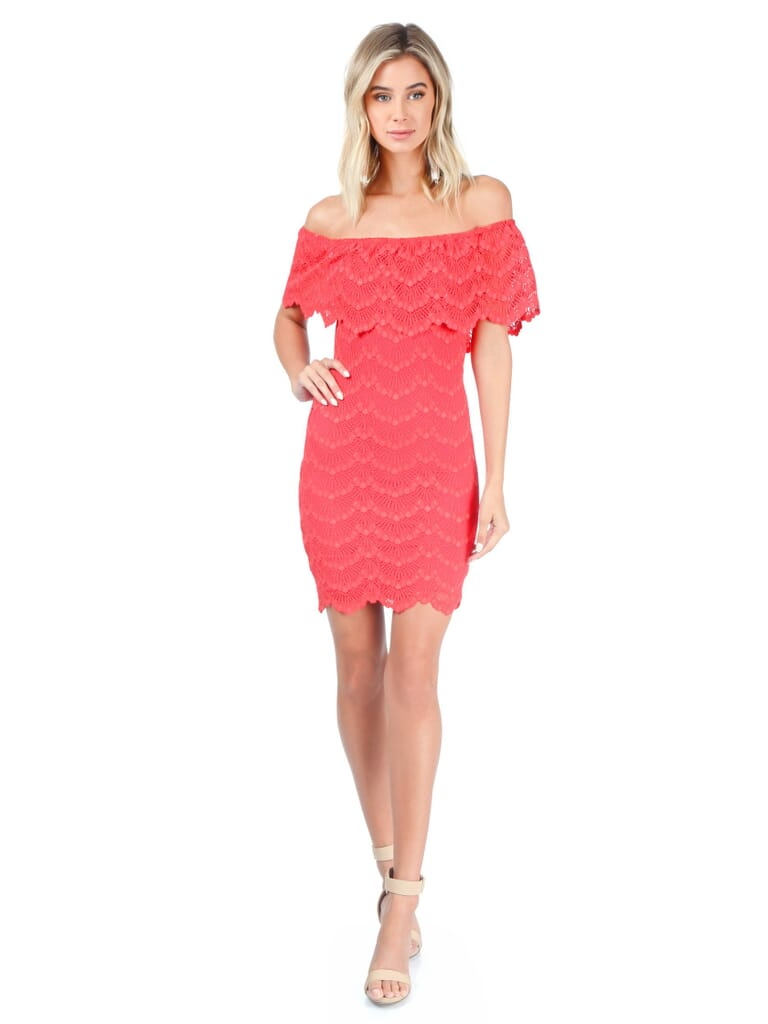 Nightcap Clothing Bachelorette Mini Dress in Guava