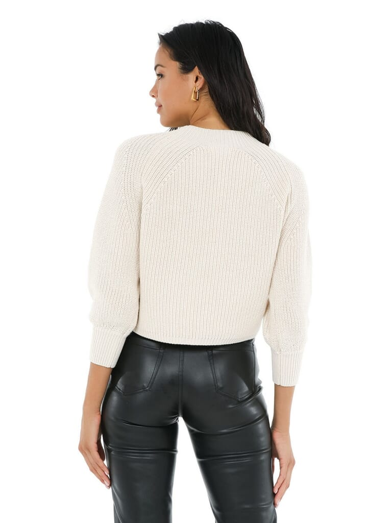 525 Balloon Sleeve Cropped Sweater in Cream