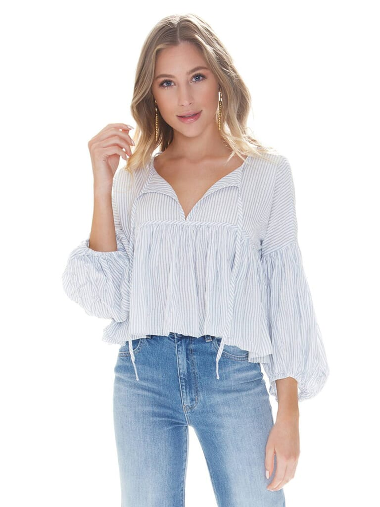 Free People Beaumont Mews Stripe Blouse in Blue/White Stripe