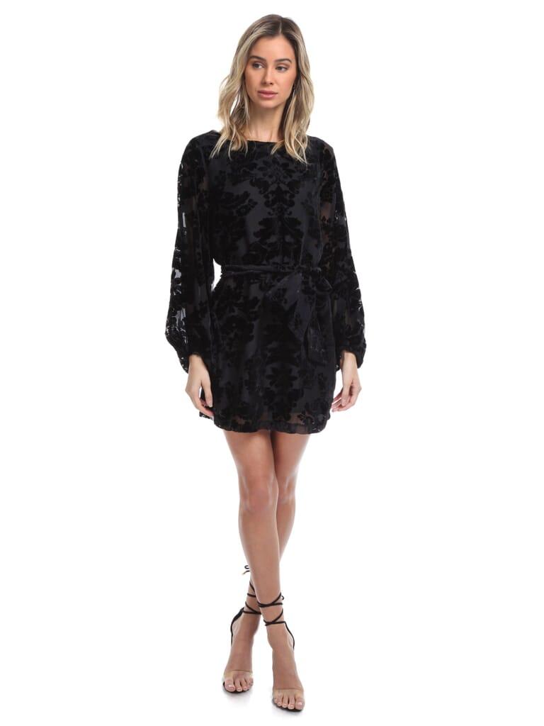 YUMI KIM Bellflower Dress in Burnout Black Velvet