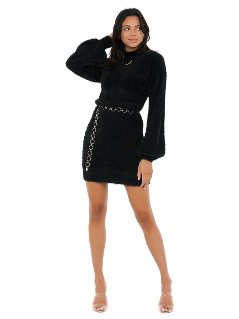 BARDOT Bell Sleeve Knit Dress in Black
