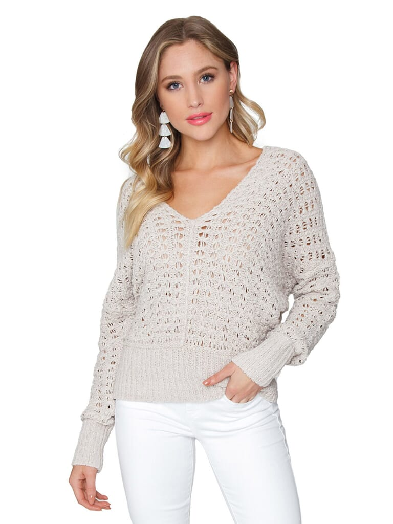 Free People Best Of You V-Neck Sweater in Natural