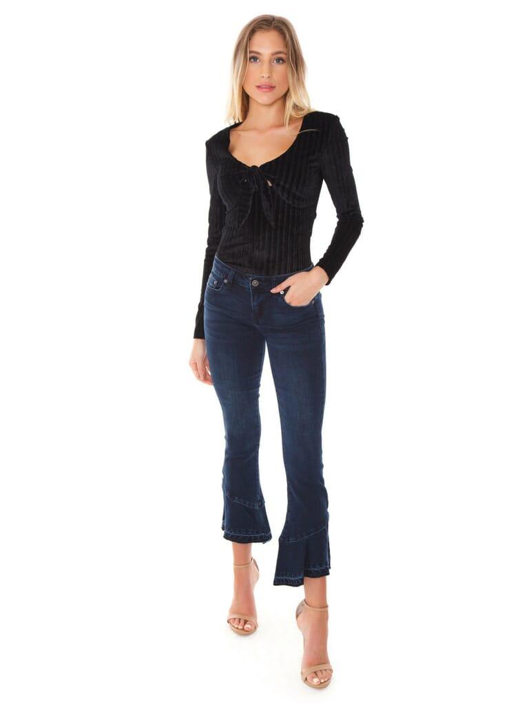 MINKPINK Blair Velvet Bodysuit in Black
