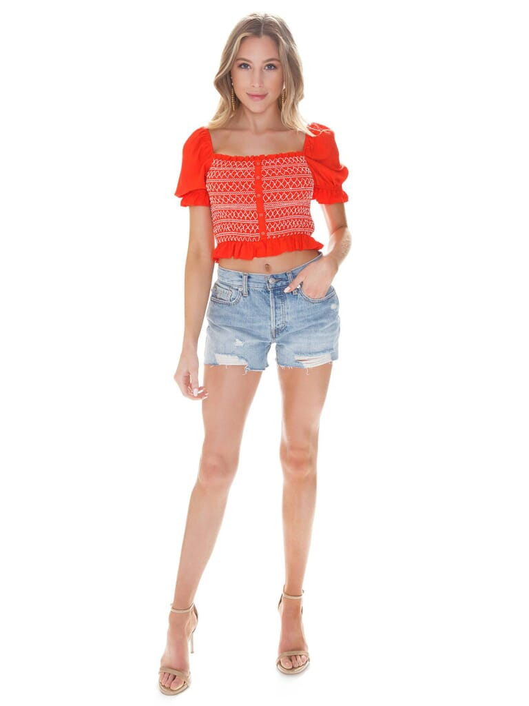 LOST + WANDER Bloody Mary Smocked Top in Coral Red