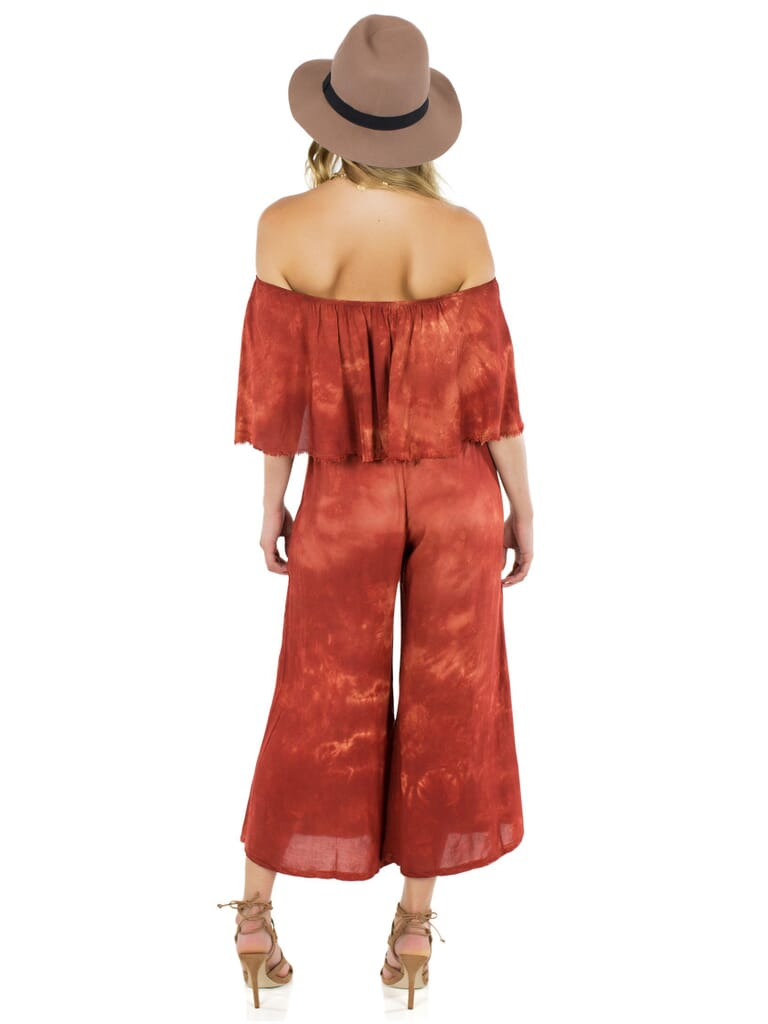 Blue Life Blue Life Pandora Ruffle Jumpsuit in Coral Bay