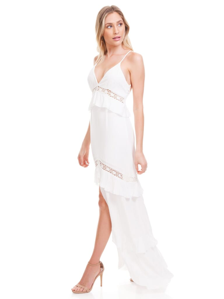 Cotton Candy Boho Ruffle Maxi Dress in White