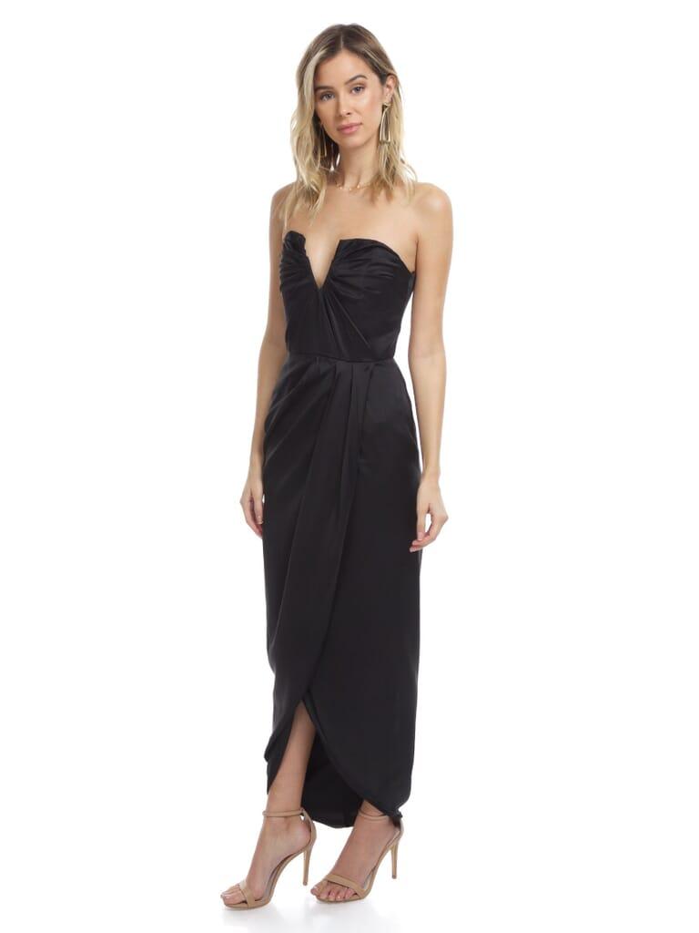 YUMI KIM Bombshell Silk Maxi Dress in Black