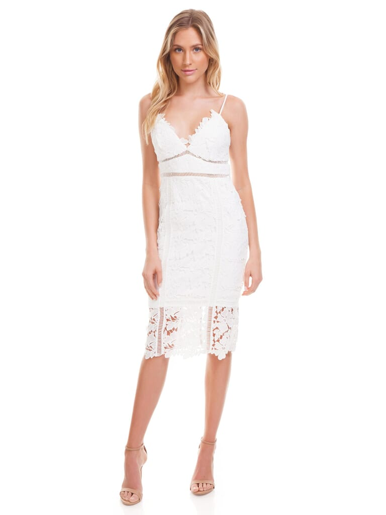 BARDOT Botanica Lace Dress in Ivory