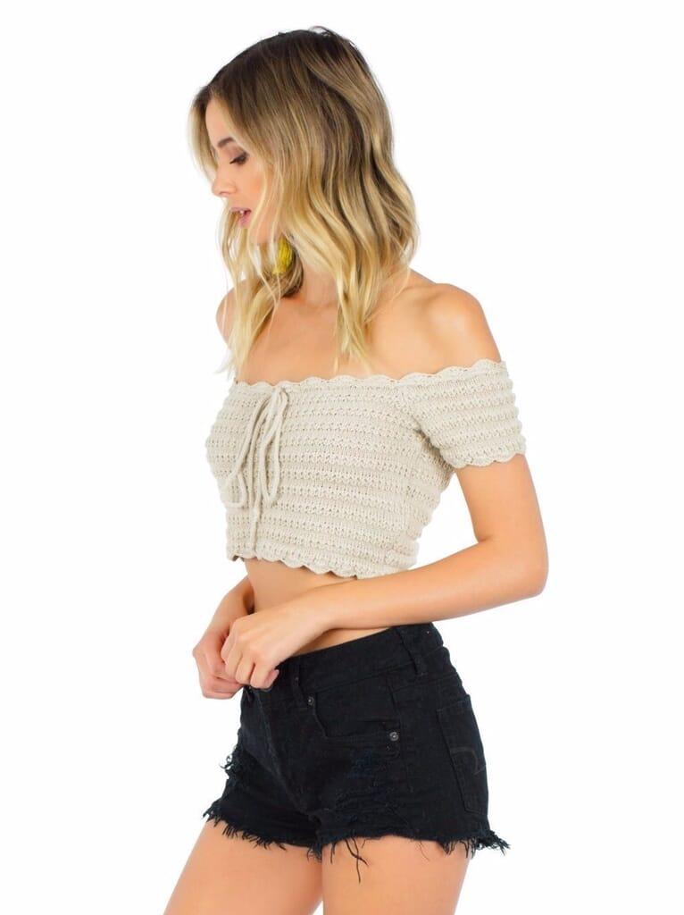 WYLDR Break  Rules Crochet Crop Top in Cream