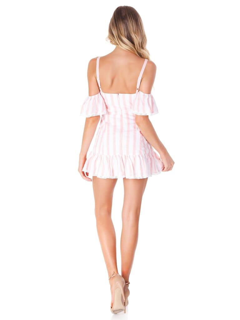 Tularosa Brinley Dress in Pink Double Stripe