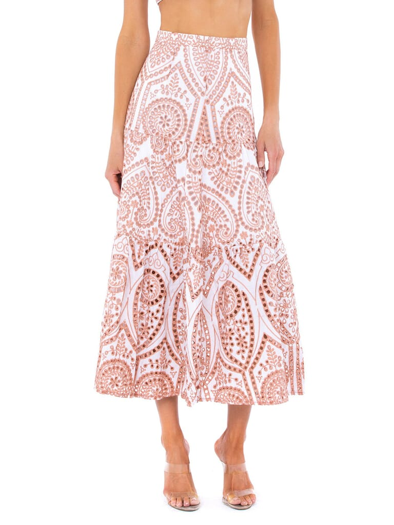 BARDOT Broderie Maxi Skirt in Two Tone Embroidery