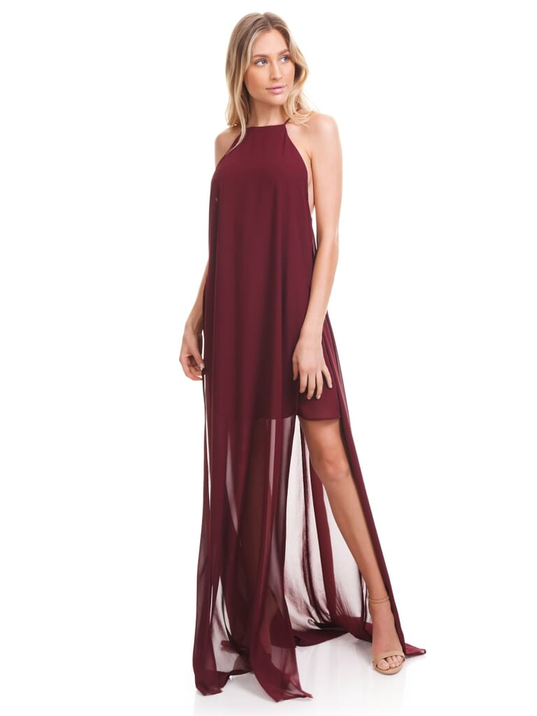 Show Me Your Mumu Bronte Maxi Dress in Cabernet