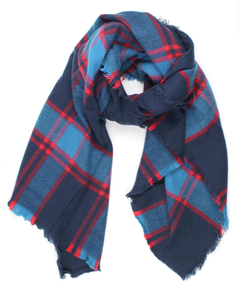 Michael Stars Brushed Plaid Wrap in Blue / Red Plaid
