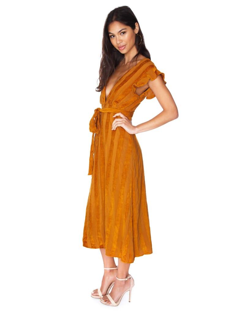 Line & Dot Brynn Deep Plunge Dress in Caramel
