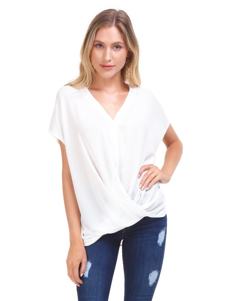 Lush Button Up Blouse in White
