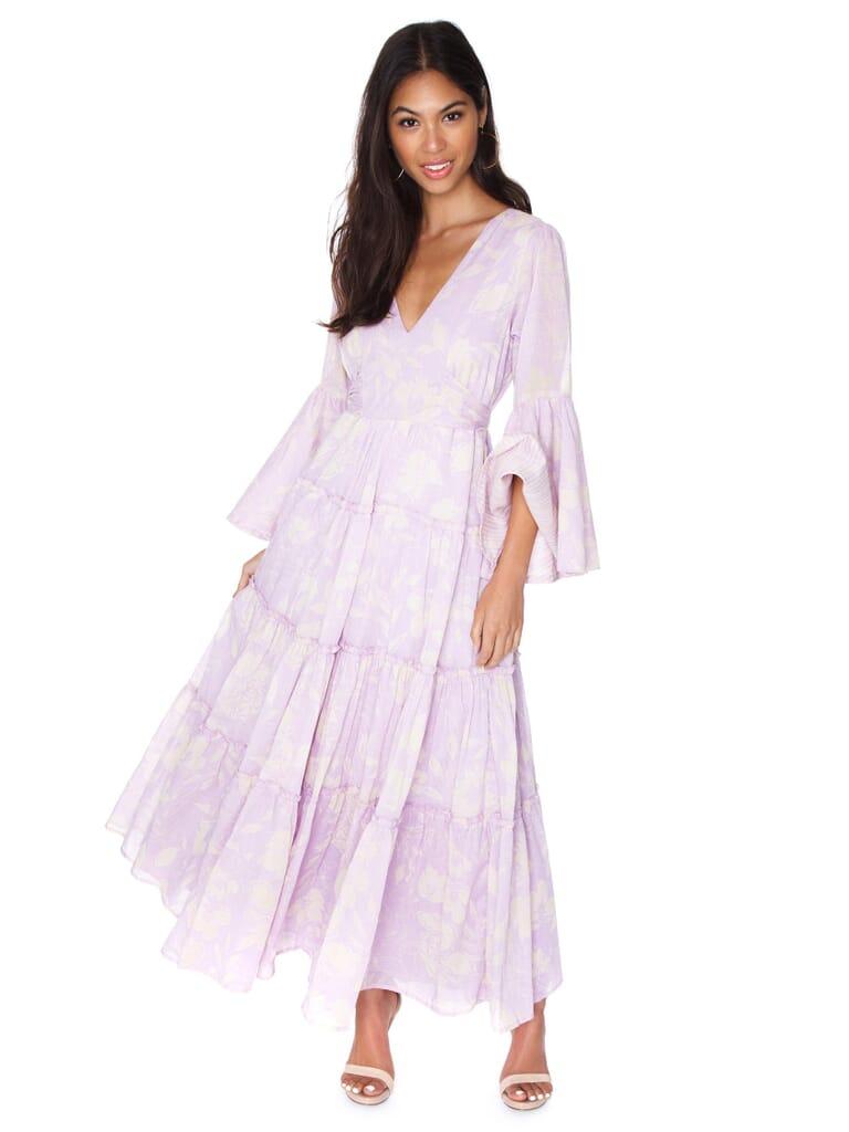 Free People Carmen Tie Back Maxi Dress in Purple