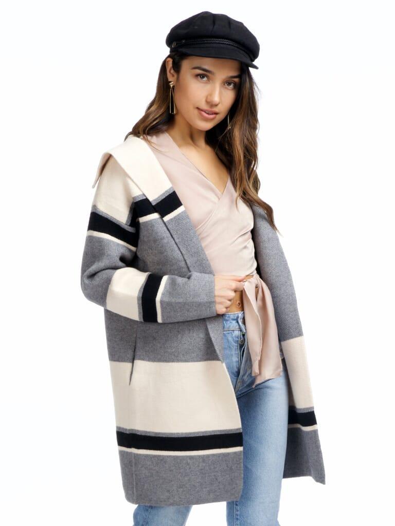 Strut & Bolt Carmine Colorblock Knit Jacket in Gray Stripe