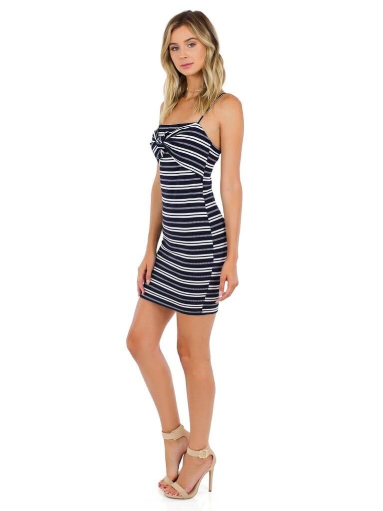 Lush Caroline Dress in Black/White Stripes