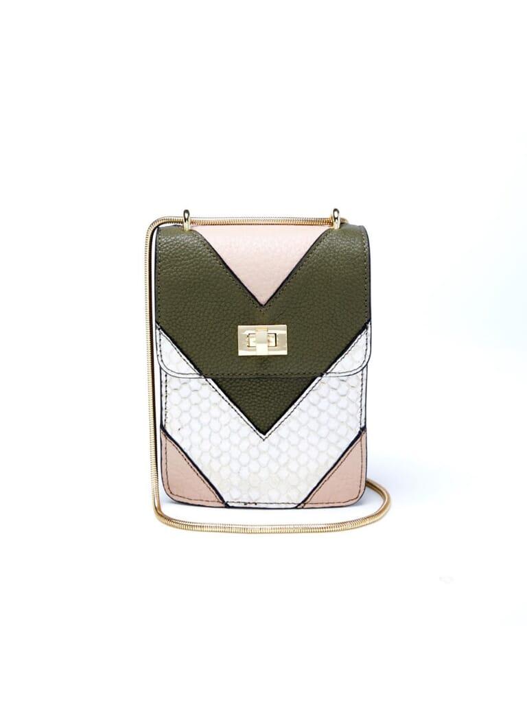 Jules Kae Ceci Cell Phone Bag in Blush/Olive/Silver Multi