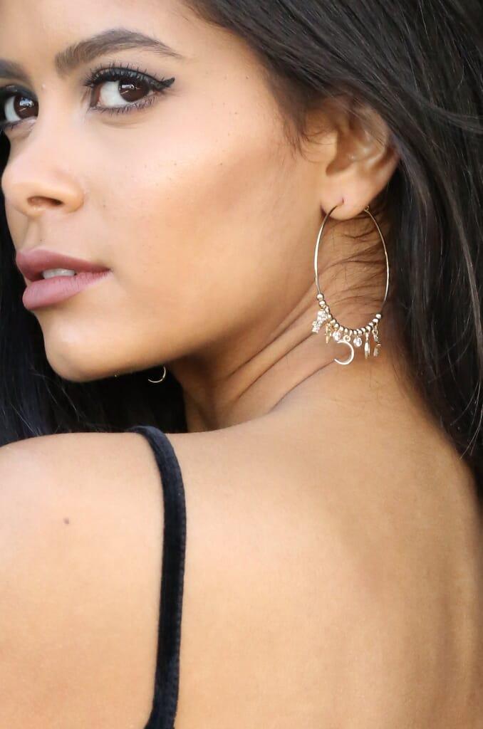 Ettika Changin' Charm Hoop Earrings in Gold