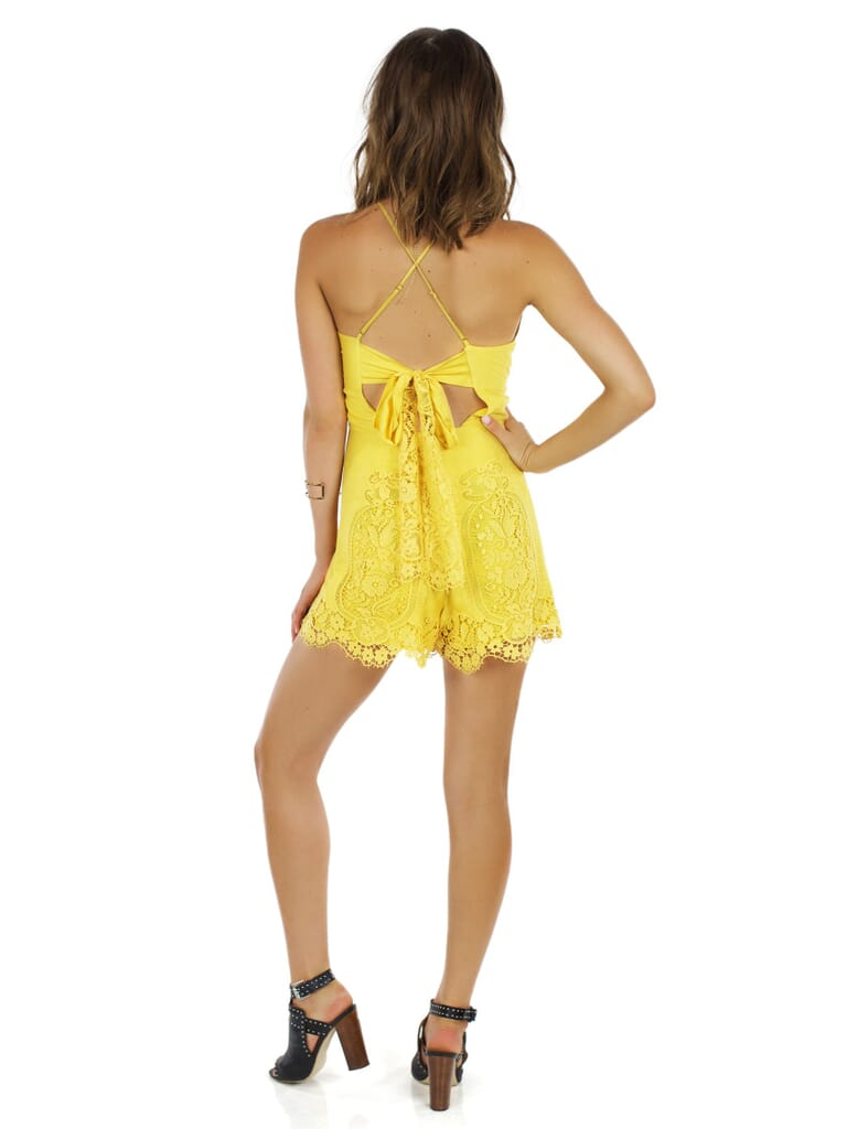 Nightcap Clothing Cheeky Playsuit in Yellow