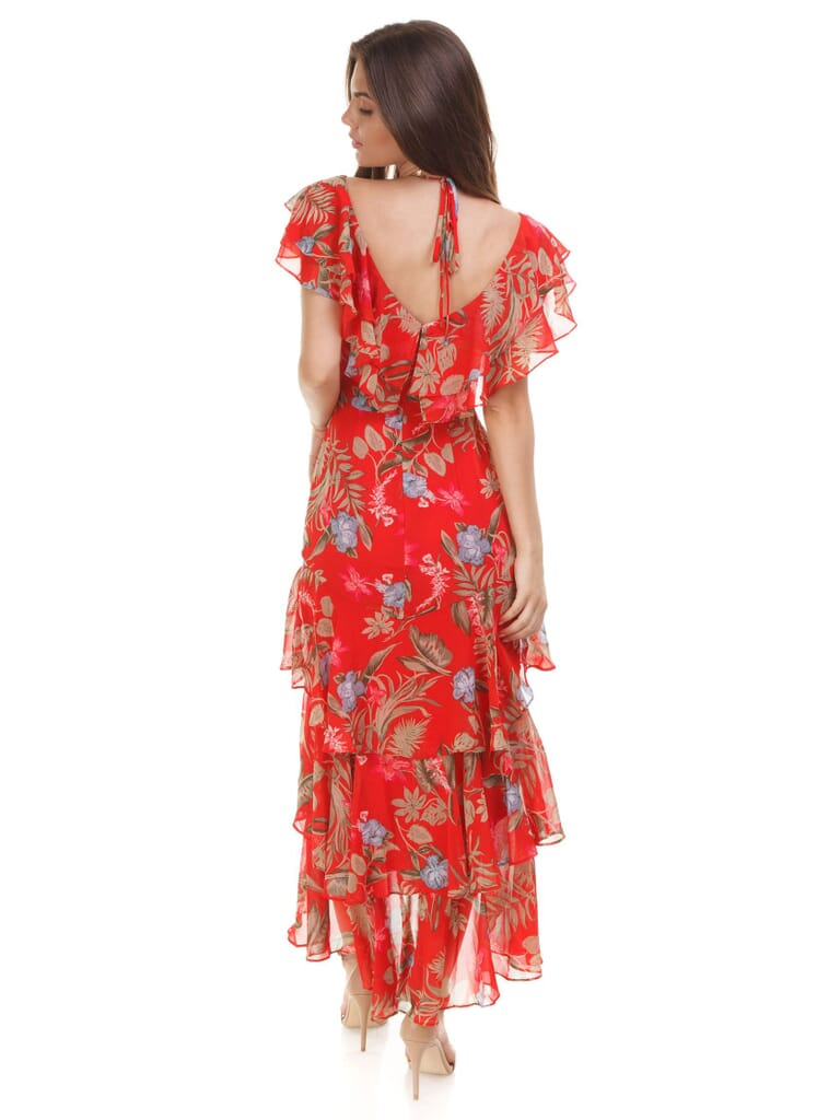 WAYF Chelsea Tiered Ruffle Maxi Dress in Red Tropical