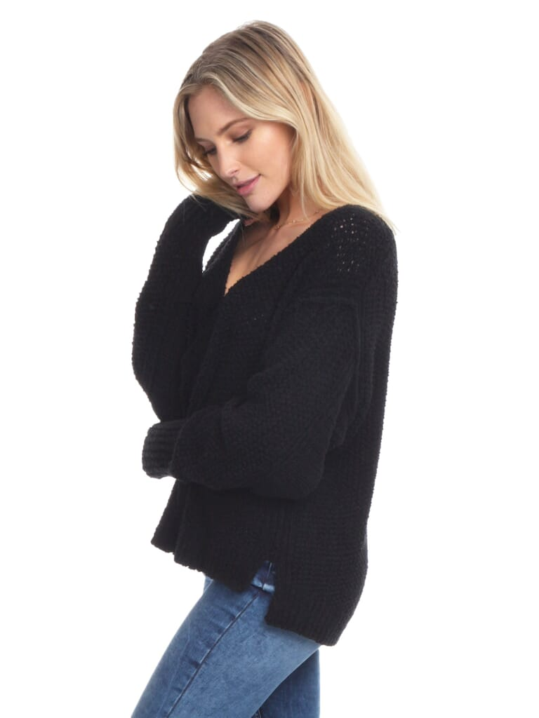 Free People Coco V Neck Sweater in Black