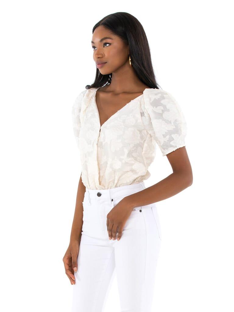 ASTR Colby Bodysuit in Cream