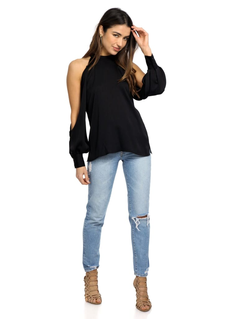 1.STATE Cold Shoulder Blouson Sleeve Blouse in Black