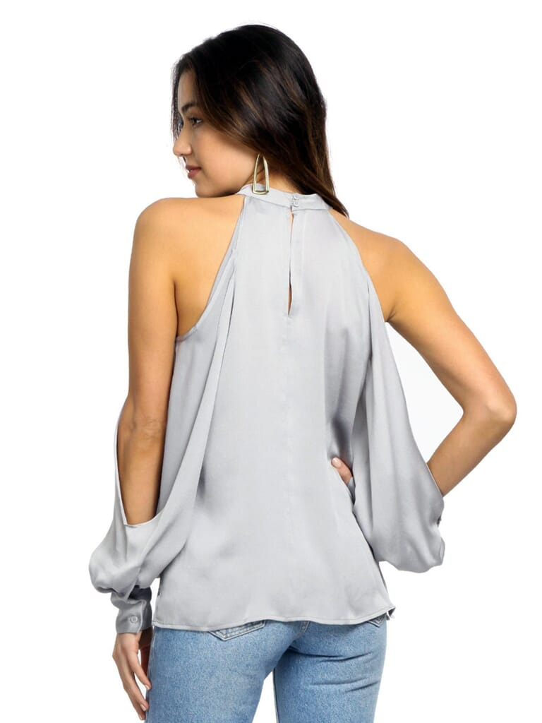 1.STATE Cold Shoulder Blouson Sleeve Blouse in Moon Dust