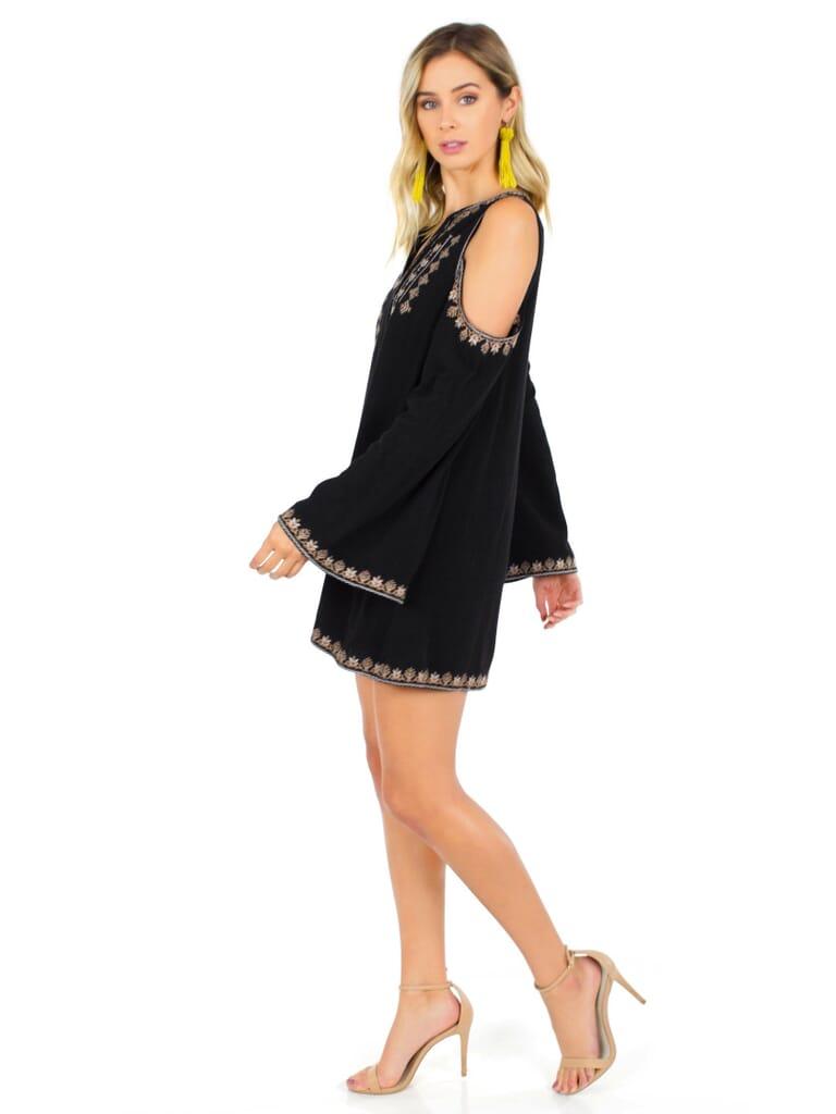 Moon River Cold Shoulder Dress in Black