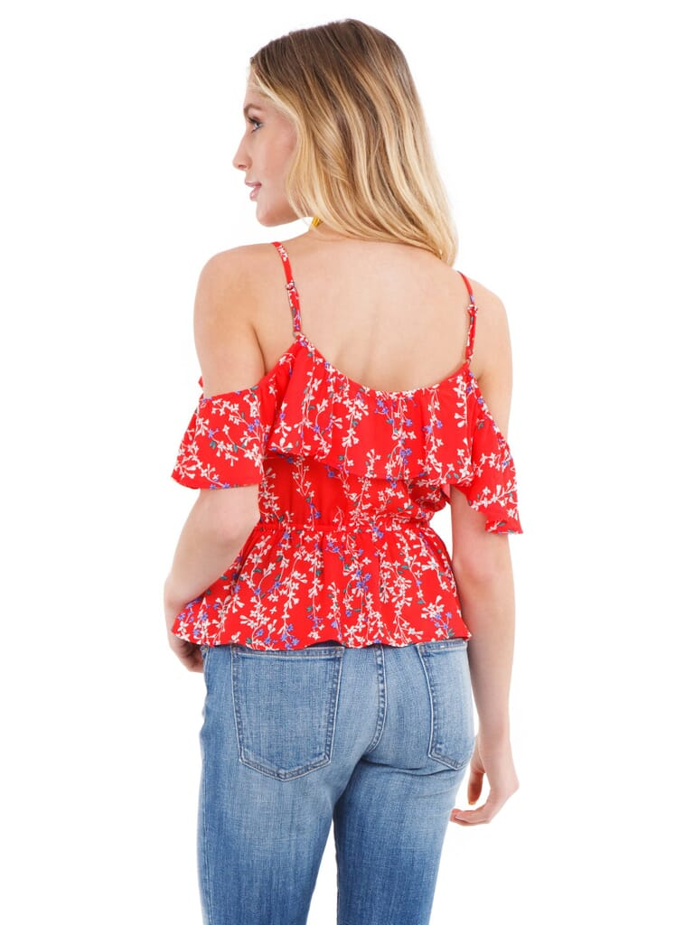 Moon River Cold Shoulder Wrap Top in Red Floral