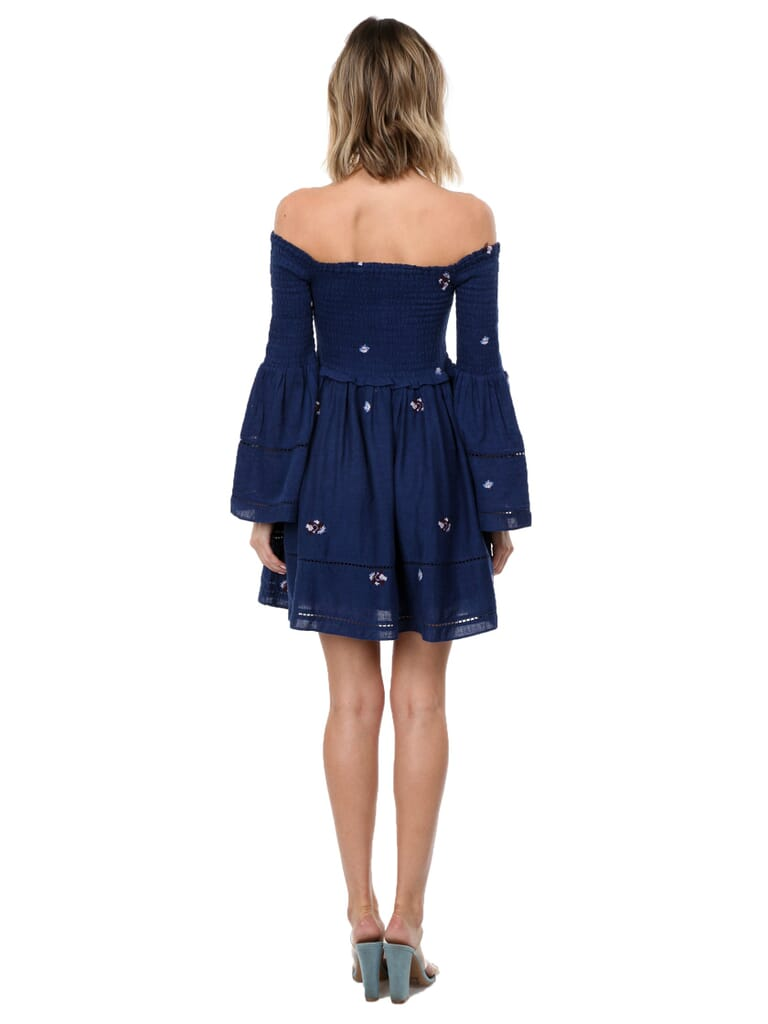 Free People Counting Daisies Embroidered Off  Shoulder Dress in Blue Combo