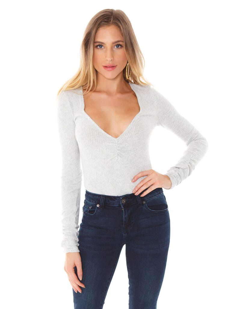 Free People Cozy Up With Me Bodysuit in Pebble