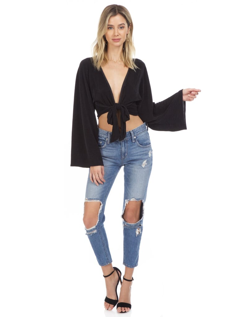 Blue Life Crystal Pleated Kimono Tie Front Top in Black