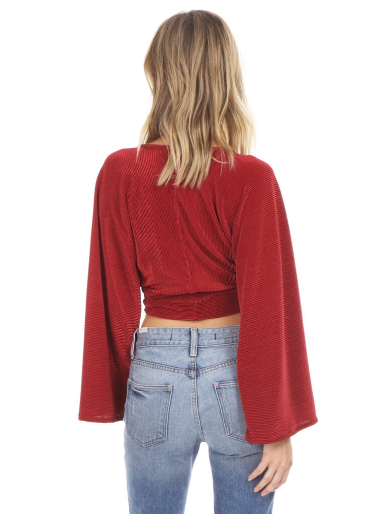 Blue Life Crystal Pleated Kimono Tie Front Top in Ruby