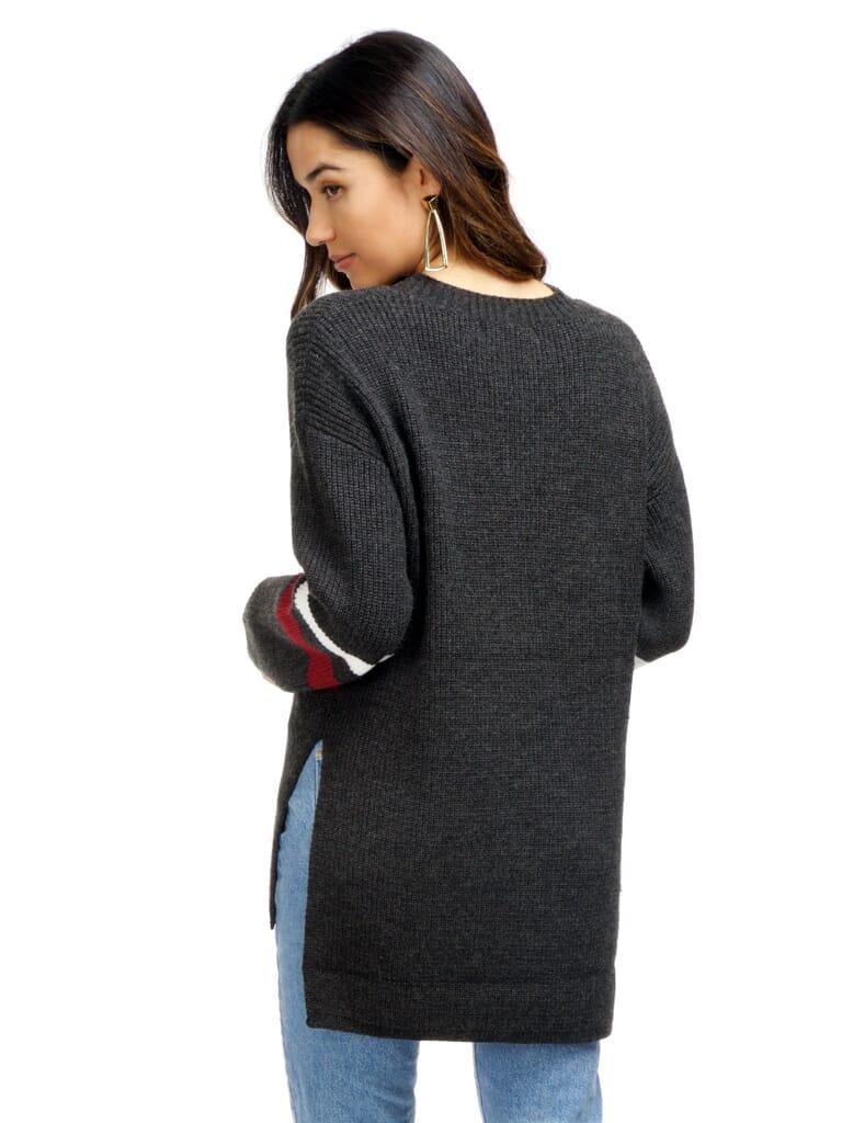 Strut & Bolt Cutout Stripe Sweater in Charcoal Grey