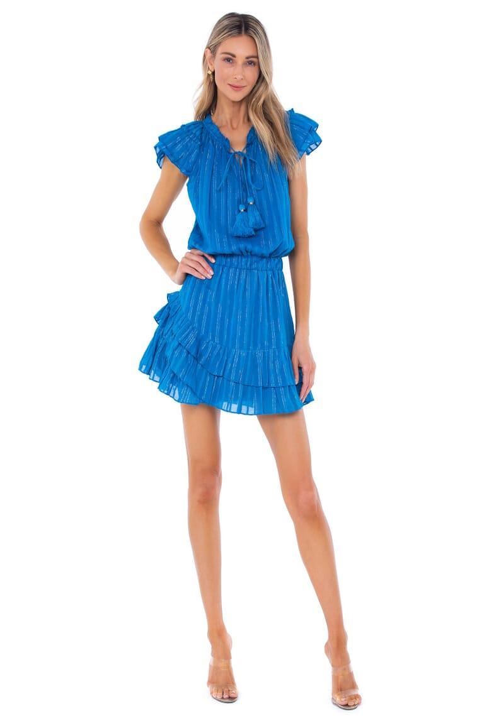 Karina Grimaldi Daisey Metallic Mini Dress in Blue