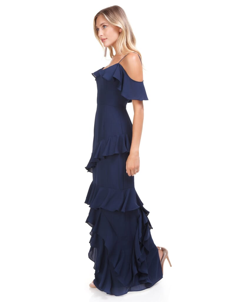 WAYF Danielle Off Shoulder Tiered Ruffle Maxi Dress in Navy
